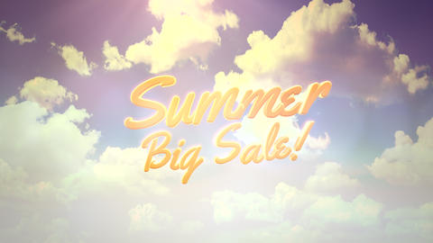Animated closeup text Summer Big Sale and blue cloudy sky, summer background Animation
