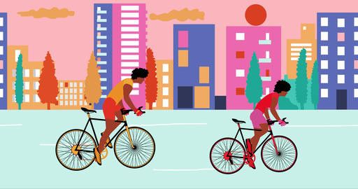 African American man and woman cyclists is riding bicycle in the summer empty Animation