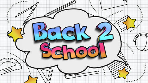 Animated closeup text Back to School and closeup motion of school elements, education background Animation