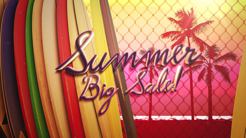 Animated closeup text Summer Big Sale and surfing boards and tropical leaves, summer background Animation