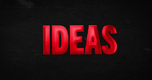 Ideas. Glossy red word Animation