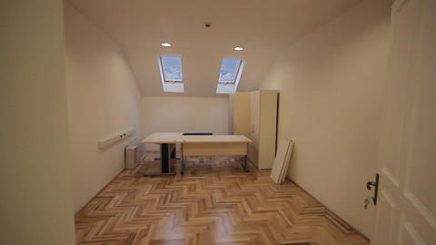 Construction site office with furniture Stock Video Footage