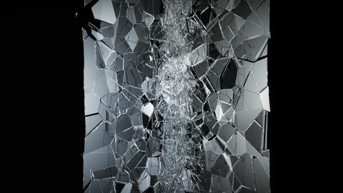 Pieces of destructed Shattered glass in slow motion in... Stock Video Footage