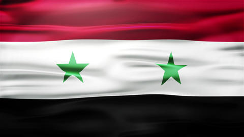 Realistic Seamless Loop Flag of Syria Waving In The Wind With Highly Detailed Fa Animation