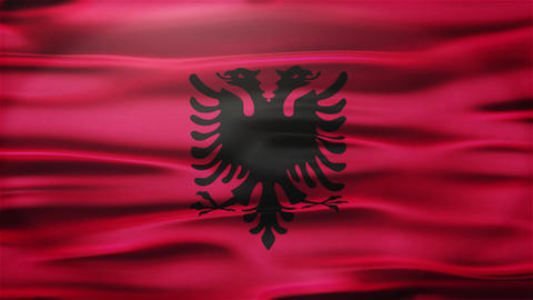 Realistic Seamless Loop Flag of Albania Waving In The Wind With Highly Detailed  Animation