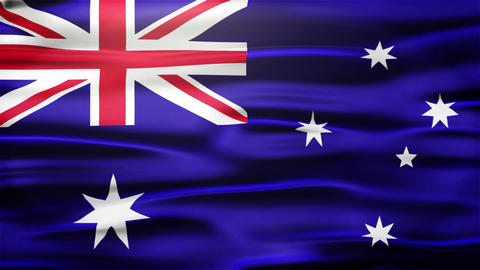 Realistic Seamless Loop Flag of Australian Waving In The Wind With Highly Detail Animation