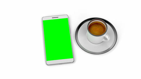 Espresso coffee and smartphone Animation