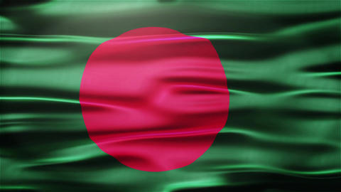 Realistic Seamless Loop Flag of Bangladesh Waving In The Wind With Highly Detail Animation
