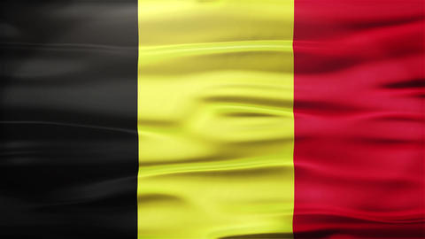 Realistic Seamless Loop Flag of Belgium Waving In The Wind With Highly Detailed  Animation