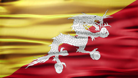 Realistic Seamless Loop Flag of Bhutan Waving In The Wind With Highly Detailed F Animation