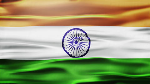 Realistic Seamless Loop Flag of India Waving In The Wind With Highly Detailed Fa Animation