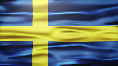 Realistic Seamless Loop Flag of Sweden Waving In The Wind With Highly Detailed F Animation