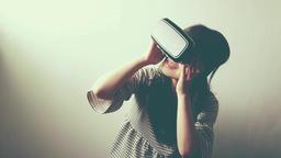 woman uses a virtual reality glasses Footage
