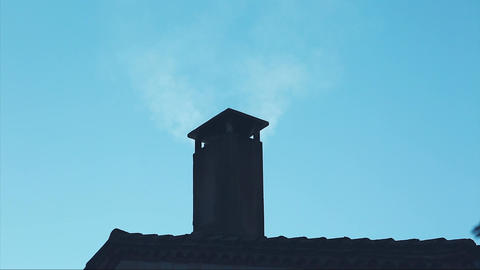 House Chimney Smoke Footage