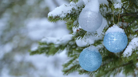 Christmas Balls are Shining on the Snow-Covered Spruce Footage