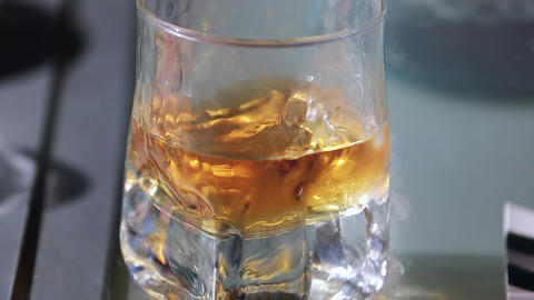 Glass of Whiskey Close Up Footage