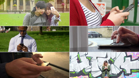 People and smartphone: multiscreen of different people using smartphone Footage
