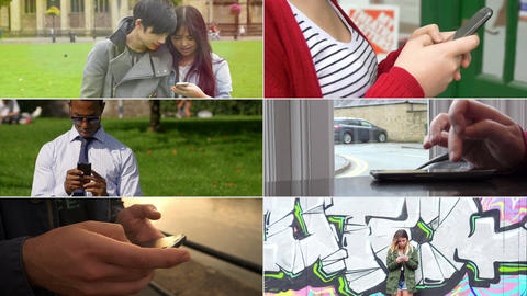 People and smartphone: multiscreen of different people… Stock Video Footage
