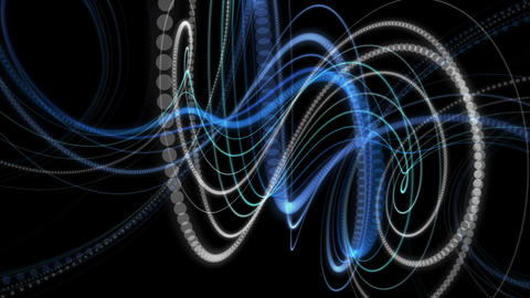 Fantastic video animation with particle stripe object in motion, loop HD Animation