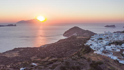 Hyper Lapse Aerial of Sunset above Typical Greek Village on Milos Island in Live Action