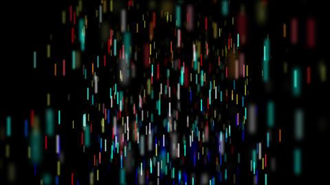 カラフルなスティックパーティクルが降りしきる空間 CG動画