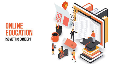 Online Education - Isometric Concept After Effects Template