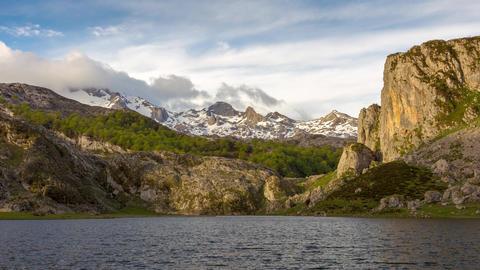 Ercina Lake at the sunrise, Picos de Europa National Park, Spain - Timelapse Live Action