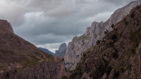 Stormy clouds at Ruta del Cares, Picos de Europa National Park, Spain - Timelapse Live Action