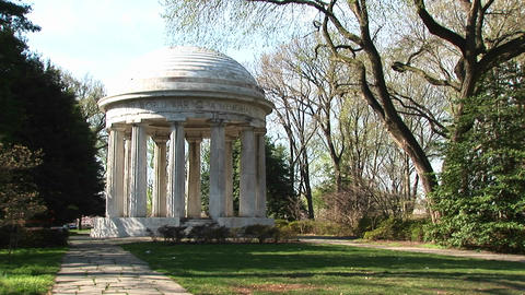 The World War I Memorial for the Fallen stands in a beautiful park Footage