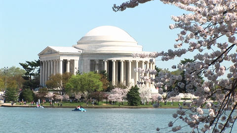 A long shot of the beautiful Jefferson Memorial building... Stock Video Footage