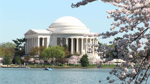 A long shot of the beautiful Jefferson Memorial building in Washington, DC Footage