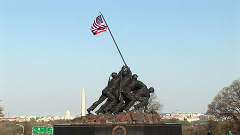 The Iwo Jima Marine Corps Memorial stands tall with the... Stock Video Footage