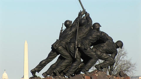 The Iwo Jima Marine Corps Memorial proudly holds up an... Stock Video Footage