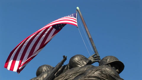 The camera slowly pans down the Iwo Jima Marine Corps Memorial Footage
