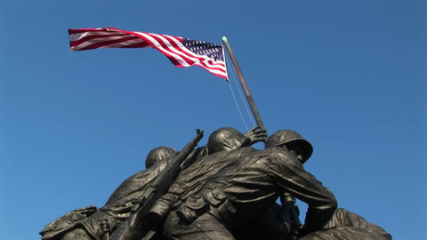 The camera slowly pans down the Iwo Jima Marine Corps... Stock Video Footage