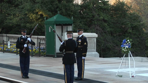 Three soldiers guard the Tomb of the Unknown Soldier Footage