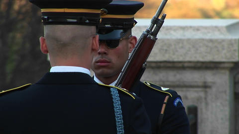 soldiers follow orders as they guard the tomb of the... Stock Video Footage