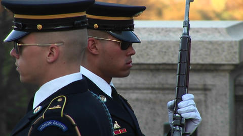 soldiers follow orders as they guard the tomb of the unknown soldier Footage