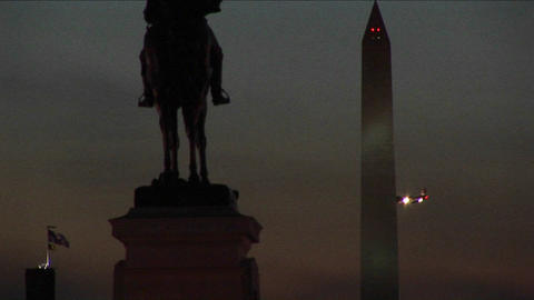 A statue of Ulysses S. Grant is in silhouette in the... Stock Video Footage
