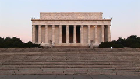 Many steps lead up to the white stone Lincoln Memorial Footage