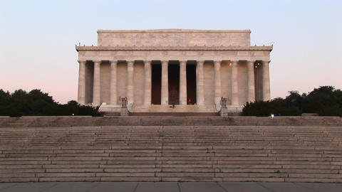 Many steps lead up to the white stone Lincoln Memorial Stock Video Footage