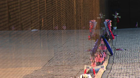 In front of the Vietnam Veterans Memorial Wall, ribbons... Stock Video Footage