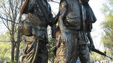 Close view of the Three Soldiers sculpture in Washington, DC Footage