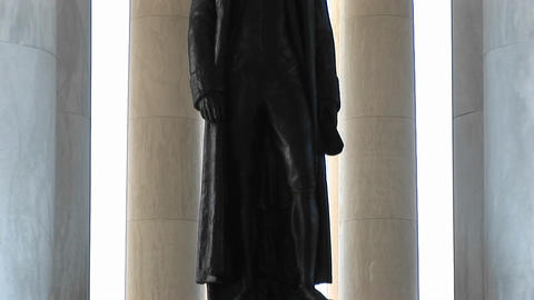 A statue of Thomas Jefferson is seen standing inside the Jefferson Memorial Building Footage