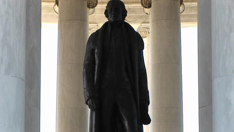 A statue of Thomas Jefferson is seen standing inside the... Stock Video Footage