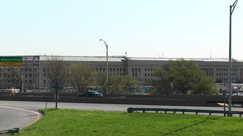 A view of the freeway near the Pentagon zooms-in to the... Stock Video Footage