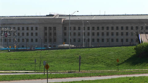 Pan-right of the Pentagon Building and Freeway Footage