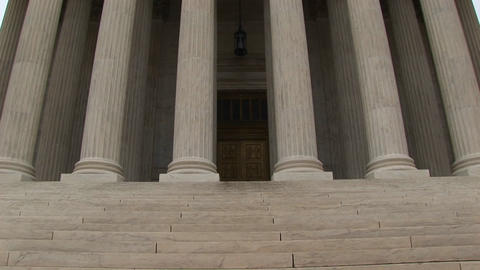 Stone steps lead to the columned entrance to the Supreme Court Footage