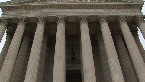 Stone steps lead to the columned entrance to the Supreme... Stock Video Footage