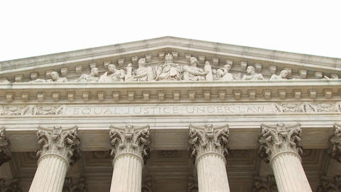 Close view of the entrance pediment sculpture on the Supreme Court Building Footage